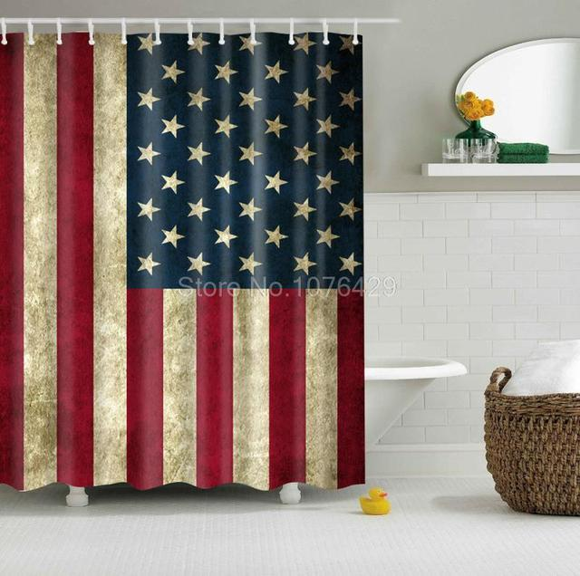 US $13.5 |Tenda Doccia personalizzata Retro American Flag Design per il  Bagno Impermeabile Mildewproof Poliestere Tessuto Con 60x72 inch + 12 Ganci  in ...