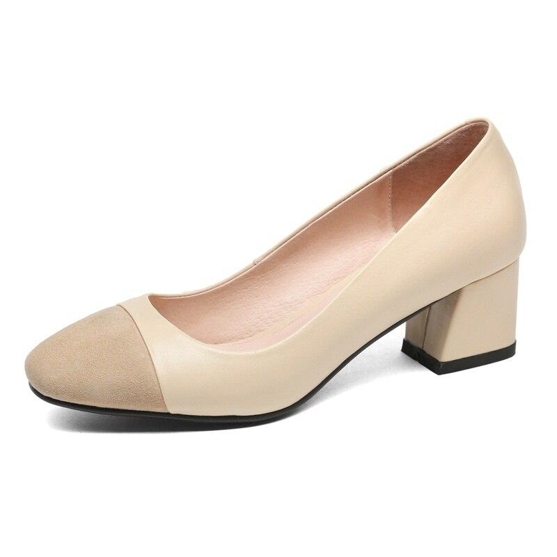 De 34 Vankaring Apricot Bureau 39 Chaussures Automne Moyen Talons Taille Talon black Pompes Printemps Nouvelle red Mariage Dames Mode 2018 Femmes Carré LSGjUzMpqV