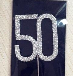 Счастливый возраст 50-й День рождения/украшение для свадьбы дня рождения 1 шт. номер 50 горный хрусталь Хрустальный торт Топпер принадлежност...