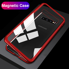 Tam Vücut Manyetik Samsung kılıfı Galaxy S10 Artı 360 Tampon Geri Kapakları Temperli Cam Samsung S10e A50 A30 M20 3D mıknatıs