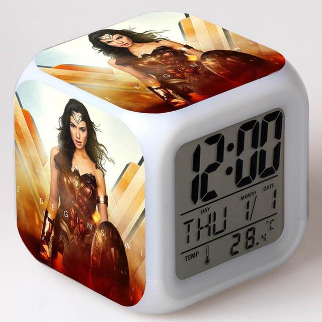 Creative Desk Decoration Wonder Woman Figure Led Colorful Light Flashing Clock Tv Model Toys