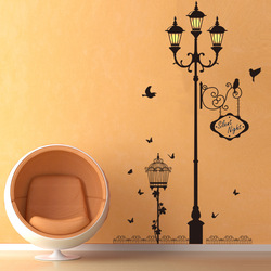 Ancient lamp bird Wall Stickers Vinyl Living room Bedroom Sofa Background decoration Mural Art Decals home decor Wallpaper