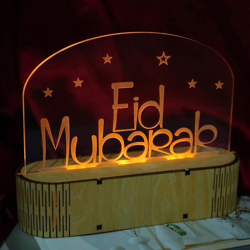 3d Eid Mubarak Led Night Lamp Eid Al Fitr Home Decorative Desk Table Light Lamps Lighting Ceiling Fans Home Garden