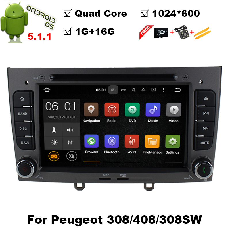 android 5 1 quad core car dvd player for peugeot 408 peugeot 308 308sw radio stereo 1024x600 hd. Black Bedroom Furniture Sets. Home Design Ideas