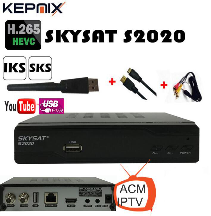 skysat s2020+wifi adapter h 265 free iks sks LAN port av support 3g wifi  iptv satellite receiver youtube