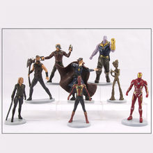8 pçs/lote 4 Marvel Avengers Brinquedos Buster hero Preto singular piscando Grutt Spiderman Super hero Action Figure toy kid presente(China)