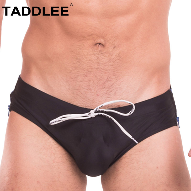 Taddlee Brand Sexy Men's Swimwear Shorts Gay Penis Pouch Men Swimsuits Swim Boxer Briefs Surf Board Trunks Black Color New цена