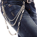 Punk Waist Chains Metal Three Layers Plating Silver Hip-hop Bullet Belt Fashion Jeans Waist Chains For Man Jeans Accessories