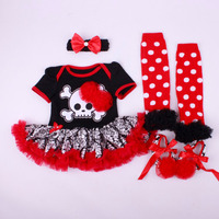 4PCs Per Set Baby Girls Halloween Red Skull Tutu Dress Infant Costume Outfit Headband Shoes Leg