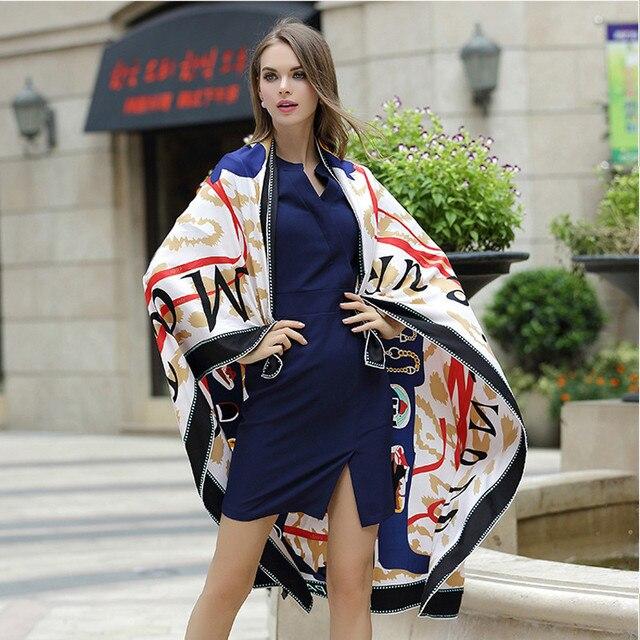 2017 женщин Способа пашмины шарф площади 130*130 см европейский женский дамы 100% саржевого шелковые шарфы письмо печати марка шали обруча