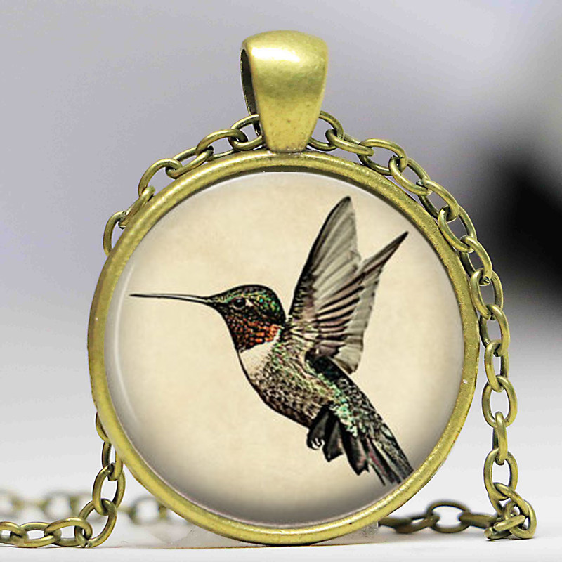 Includes 18 Chain Hummingbird Jewelry Hummingbird Jewelry Charm Pendant Blue Hummingbird 20mm Necklace Bird Art