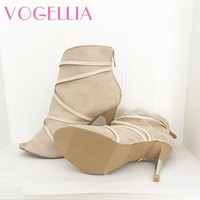 2018 New Fashion Woman Faux Suede Pumps Sexy Open Toe Ankle Boots Slip On Deep V Cut High Heel Lady Autumn Shoes 2