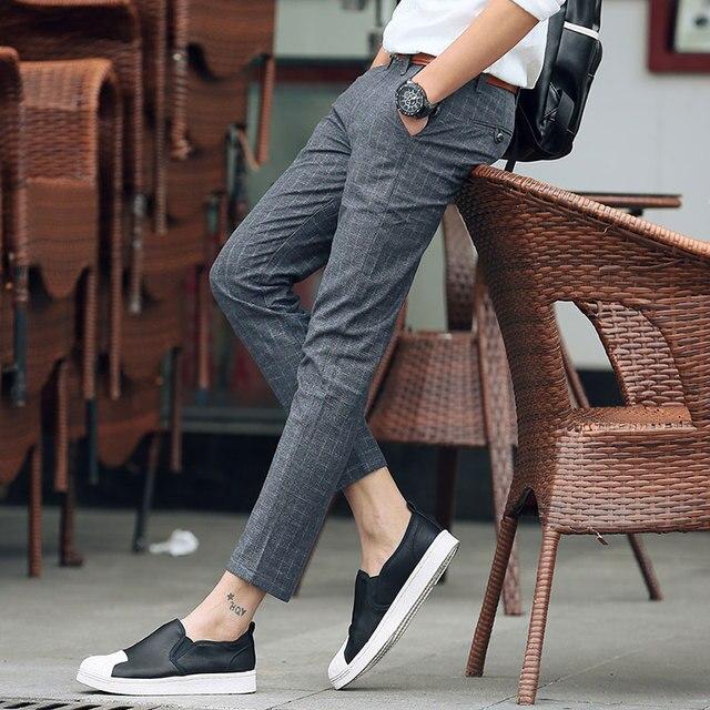 c433d279c0f2 summer Men s casual pants plaid men STRAIGHT Slim trousers ankle-length  pants cotton thin dress