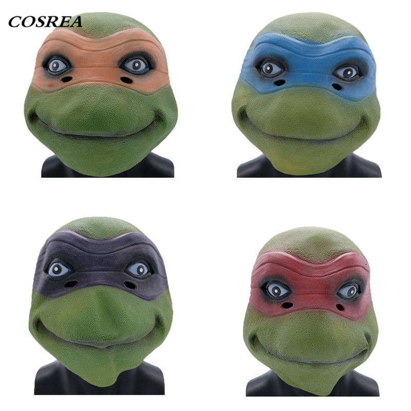 COSREA Anime Teenage Mutant Ninja Turtles Mask Full Face Cosplay Leonardo Shell Props Set Masks Halloween Party For Adult Kids