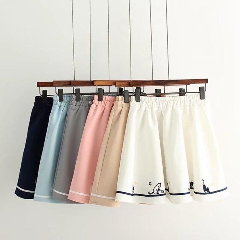 WXCTEAM Women Girl Skirt Schoolgirl Stripe Cat Footprint Skirt Thicken A-line Girls Cat Embroidery Mini Strap Skirt Faldas Mujer