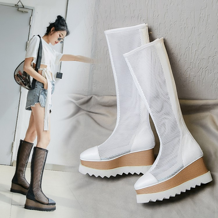 female summer Wedges high heels platform mesh boots 2019 new fashion women Over the knee boots Women's shoes size 33-42
