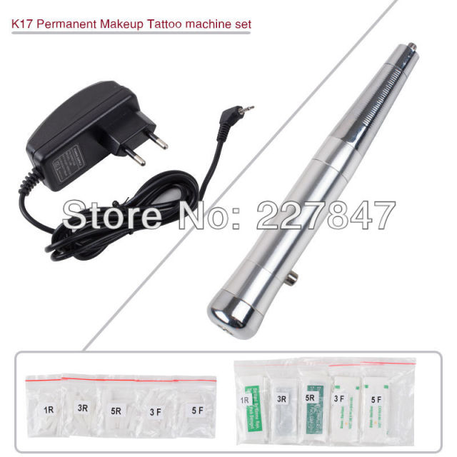 CHUSE K17 Permanent Makeup Tattoo Machine kits Eyebrow Tattoo Machine Pen Set Silver Color Makeup Eyebrow Tattooing PMU
