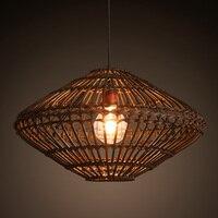 Юго Восточной Азии Винтаж стране китайской Стиль бамбука плетеное ротанг подвесной светильник ресторан Чайхана Домашний Декор Освещение п
