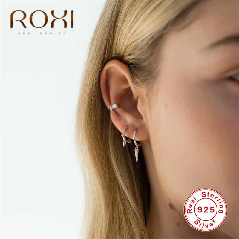 ROXI Punk Stud Earring Real 925 Sterling Silver Earrings for Women and Men CZ Round Cartilage Piercing Earing Rock Party Jewelry