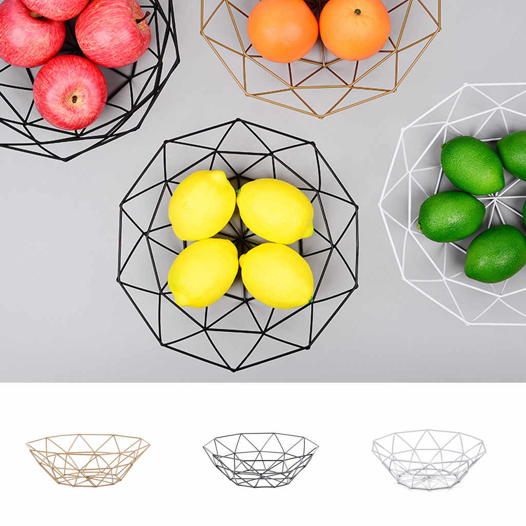 Fruit Basket Geometric Fruit Vegetable Wire Kitchen Storage ...