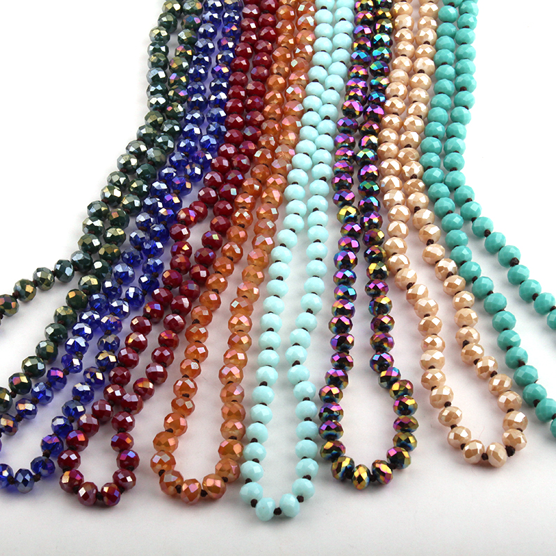 Wholesale Long knotted 5X8 Glass Crystal Necklace