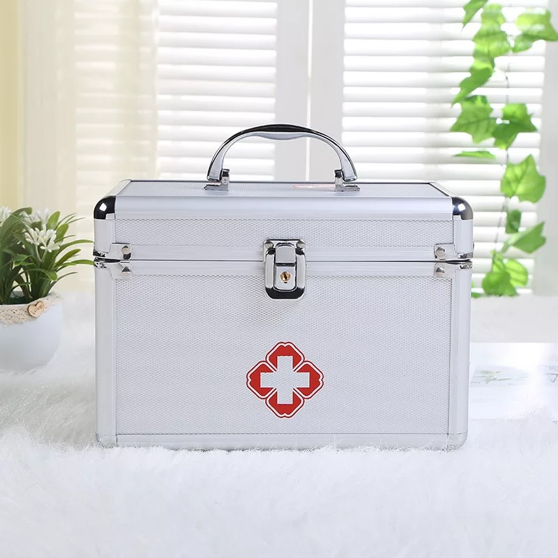 XSB21-XSB40 3M Aluminum Alloy Medicine Cabinet Portable Double-layer Mobile First Aid Kit Clinic Drug Kit Home First Aid Kit ...
