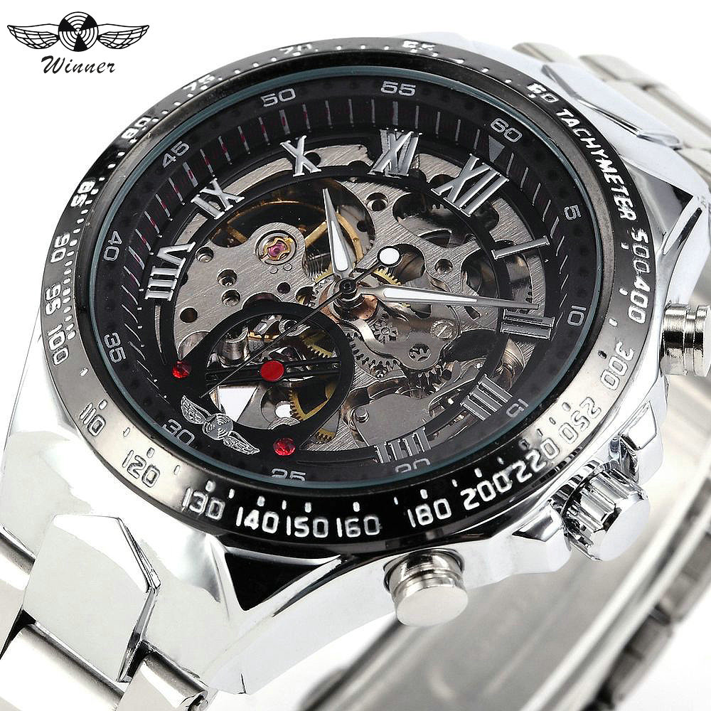 WINNER Sport Watches Men Full Steel Strap Top Brand Luxury Auto Mechanical Wristwatch Skeleton Dial Luminous Hands Fashion Clock winner watch fashion black leather strap skeleton luxury design clock men watches top luxury mechanical wristwatch gift