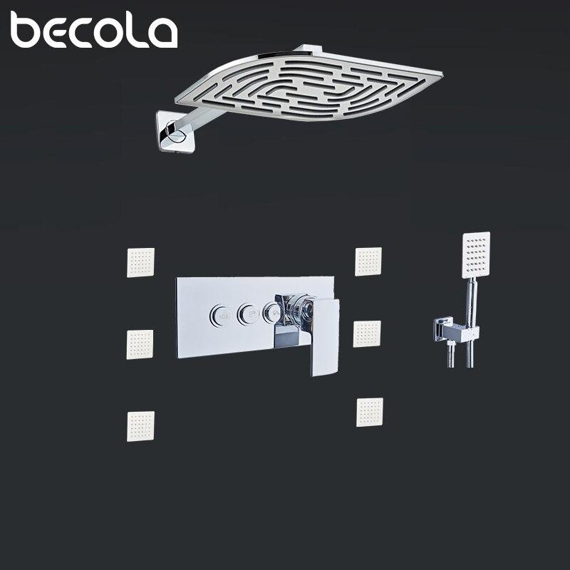 BECOLA Термостатические Смесители для ванной комнаты 12 смесительный клапан настенная душевая головка 6 массажных струй Spa Body Spray Shower Set