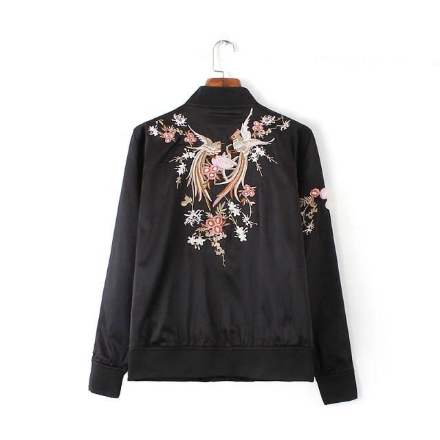 Mode Broderie Oriental Fleur Phoenix Oiseau Motif Veste Courte