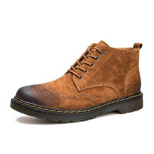цена на ELGEER Genuine Leather Men Boots Winter Ankle Boots Fashion Footwear Lace Up Shoes Men High Quality Vintage Men Shoes 38--46