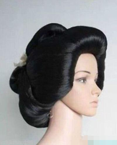 free shipping Hot sell Black Geisha Wig Full Wigs Plate Hair Anime womens Cosplay Wig/Wigsfree shipping Hot sell Black Geisha Wig Full Wigs Plate Hair Anime womens Cosplay Wig/Wigs