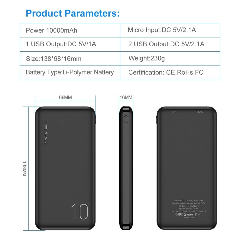 FLOVEME Power Bank 10000mAh Portable Charger For Samsung Xiaomi mi Mobile External Battery Powerbank 10000 mAh Poverbank Phone 5