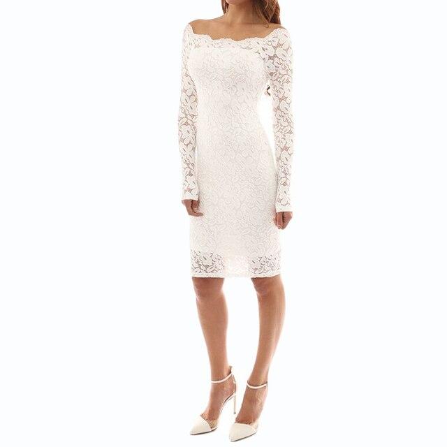 2bea6127c5c 2019 Sexy femmes automne robe mi-longue dentelle florale manches longues  moulante robe épaule dénudée