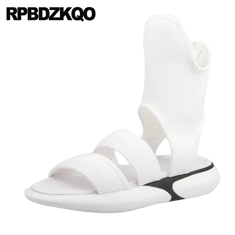 Women Sandals Flat Casual 2018 Designer Strap Open Toe Runway Booties Summer White Boots Roman Holiday Ladies Shoes Gladiator