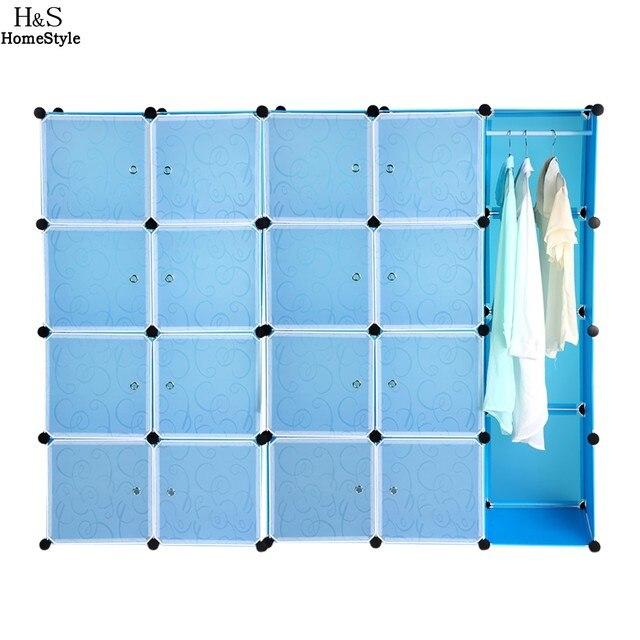 20 Полки PP Материал DIY Складной Сочетание Шкаф Переносное Устройство Для Хранения Организатор Шкаф Вешалка Синий