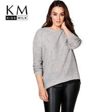 Kissmilk Plus Size Fashion Women Clothing Casual Knitted Sweater Loose Pullover Warm Zipper Slim Jumper Big Size Sweater 4XL 5XL цена