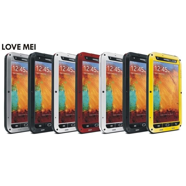 Lovemei Водонепроницаемый Противоударный Пылезащитный Алюминиевая Мощный Чехол Для Samsung Galaxy NOTE 3 Gorilla Закаленное Стекло