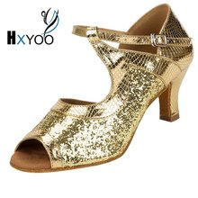 HXYOO 2017 New Custom-made Cuban Heel Glitter Ballroom Dance Shoes Women Latin Salsa Shoes Tango Silver Gold Soft Sole WK034