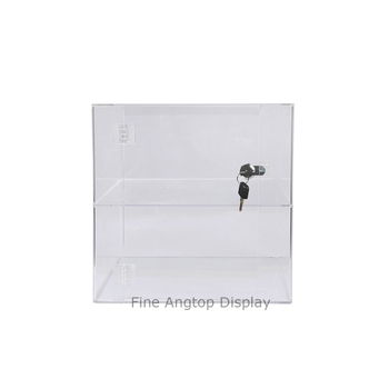 Locking Clear Acrylic Display Cube Case With 2 Shelves Jewelry Cosmetic Display Organizer Holder