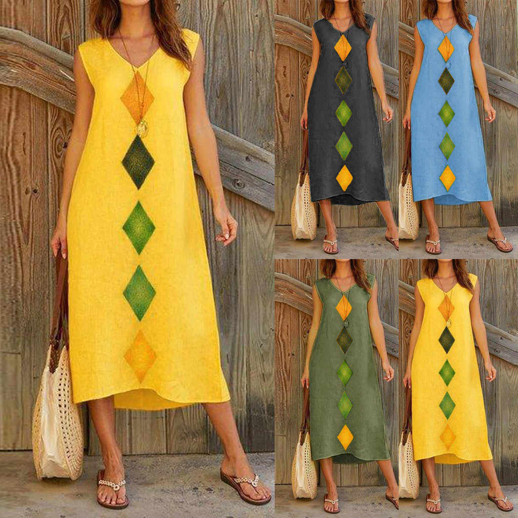 Women Dress 2019 Summer Fashion Dress Women Summer Sleeveless V Neck Cotton Linen Printed Casual Long Maxi Beach Dress S-XXL #20