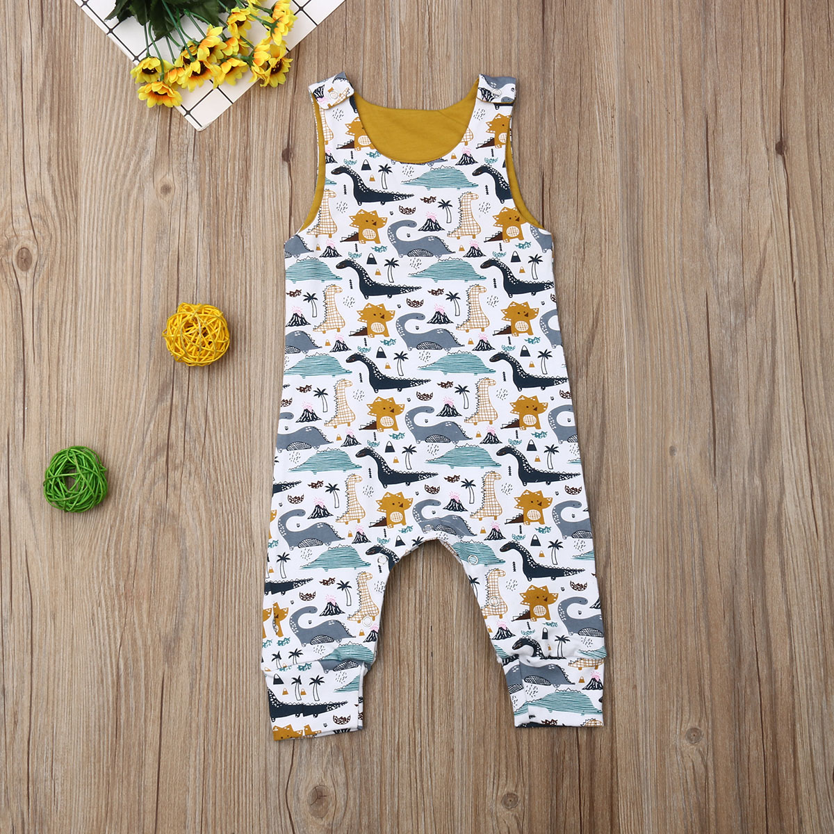 Pudcoco Summer Newborn Baby Boy Girl Clothes Sleeveless Cotton Cute Dinosaur Print Romper Jumpsuit One-Piece Outfit Playsuit