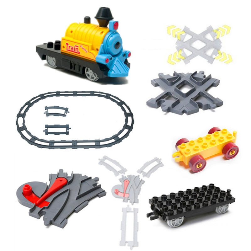 Funny Train Blocks Accessories Train Coach Track Railway Assembling Parts Kids DIY Toys Compatible with Duplo