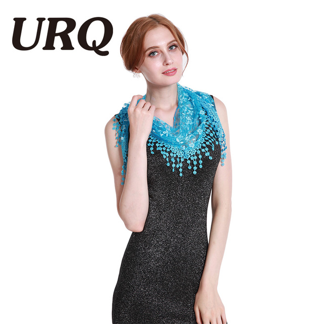 Brand luxury fashion Summer Ladies Lace Tassel Sheer Metallic Women Girls Floral Triangle Bandage Floral scarves L10A5108