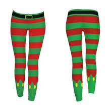 *Women Christmas Pants  Multicolor Stripe Printed Festival Clothes Female Slim Pants  Christmas Leggings Drop Shipping*