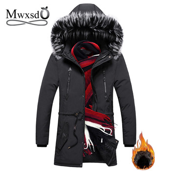 Mwxsd Causal Mens winter warm thick fur parka jacket men  fur hooded middle long jackets and coats male casaco masculino inverno