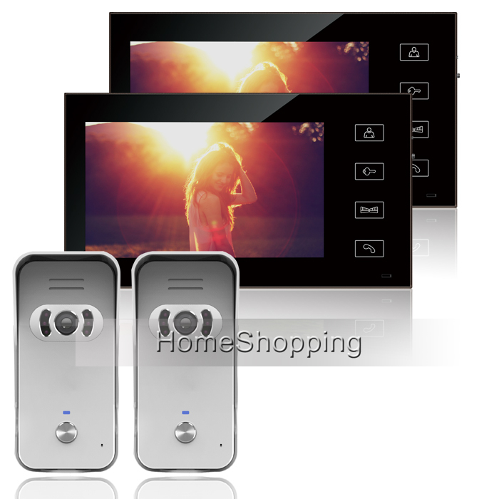 FREE SHIP New  Wired 7 inch TFT  Video Door phone Intercom System / Kit  + 2 Monitors + 2 Night Vision Outdoor Camera IN STOCK