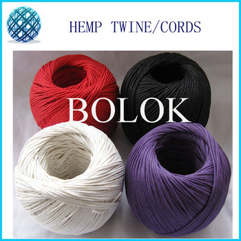 free shipping hemp cord waxed  (16pcs/lot) colored100m/ball, hemp twine cord used in all kinds packing 12 kinds color
