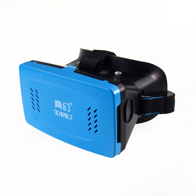 Brand New Head Mount Plastic Version VR Virtual Reality Glasses Magnet Cardboard for Smartphone Blue