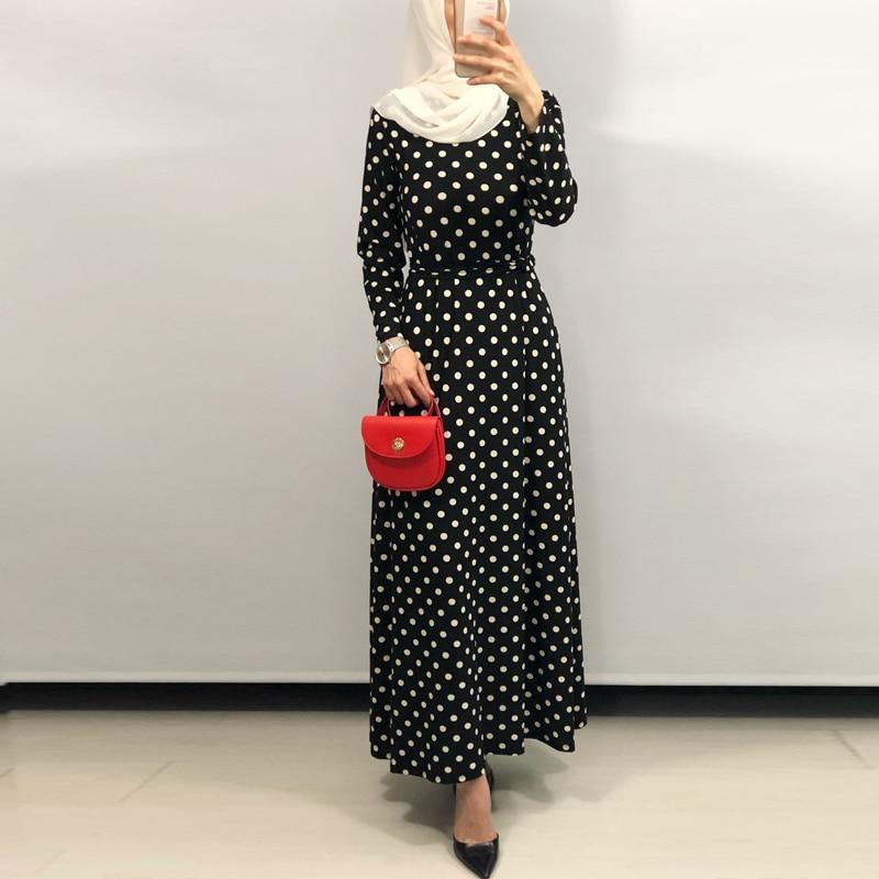 Vestidos Arabes Elegantes Polka Dot  Abaya Caftan Dubai Islam Kaftan Muslim Dress Women Ramadan Elbise Sukienki Eid Robe Femme
