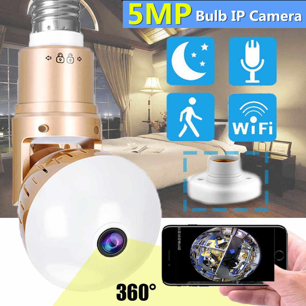 wifi ip camera 360 Bulb 5MP 1080P wireless Panoramic fish eye 2mp audio smart home cctv video surveillance light lamp ip cam